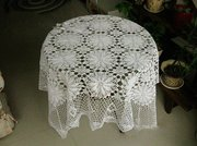 Vintage Hand Crochet White Cotton Table Cloth 54